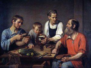 Федор Солнцев. Крестьянское семейство перед обедом (фрагмент). 1824. Государственная Третьяковская галерея, Мосва