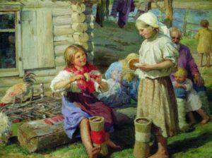 Федот Сычков. У хаты (фрагмент). 1915. Приморская краевая картинная галерея, Пермь